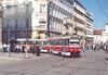 Po velké prohlídce vyjela souprava tramvají T3G evid. č. 1649+1650 – na snímku z20. 3. 2012 zabočuje zČeské do Joštovy ulice při jízdě směrem do Komárova na lince 12. Foto © Ladislav Kašík.
