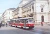 Patrně jedinou letošní GO tramvají T3G v Brně představuje souprava vozů evid. č. 1624+1625. Na snímku z 10. 3. 2012 souprava odjíždí z Malinovského náměstí směrem k hlavnímu nádraží. V rámci opravy bylo mj. původní nožní řízení nahrazeno ručním řadičem, motorgenerátory vyměněny za statické měniče, brzdové odporníky přemístěny zpod podlahy na střechu a pantografy doplněny elektrickým stahovákem. Foto © Ladislav Kašík.